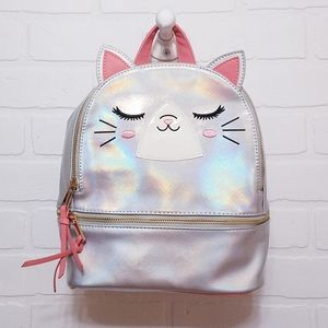 Silver holographic cat backpack with pink straps